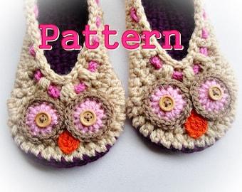 Cuddling Owls Crochet Slippers Pattern