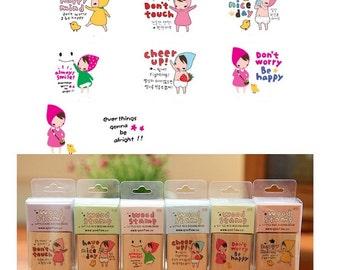 Cute Cartoon Little Girls DIY Crafts Wooden Rubber Stamp