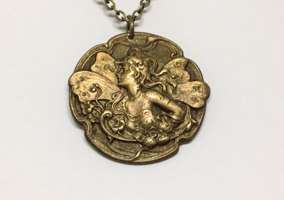 French Vintage Fairy/Fairy Pendant/French Vintage Stamping/Beautiful Fairy/Brass Stamping/1920s/Paris France/Unique Jewelry/Rare Stamping