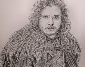 Jon Snow Kit Harington Game of Thrones original graphite drawing