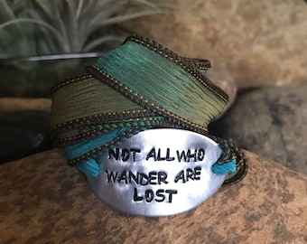 Not all who wander are lost silk wrap bracelet, traveler jewelry, wanderlust, mantra bracelet, personalized, quote jewelry, nautical