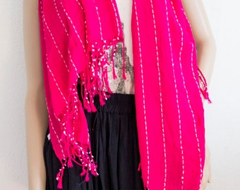Cotton scarf ,Pink ,White ,Fringed scarf