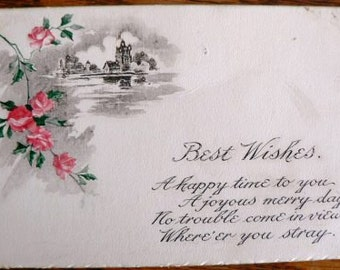 vintage POSTCARDS ... Floral BEST WISHES poem front stamped 1915  ...
