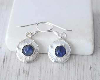 Blue Sapphire and Sterling Silver Earrings, Small Round Dangle Earrings, Natural Sapphire Birthstone Earrings, Sapphire Jewelry