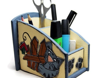 Desk organizer with two pretty cats - Desk accessories with cats - Pencil box with cats - Back to school