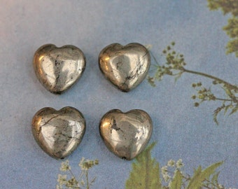 Natural Gemstone Pyrite hearts 12mm set of 4 beads GOLD PYRITE