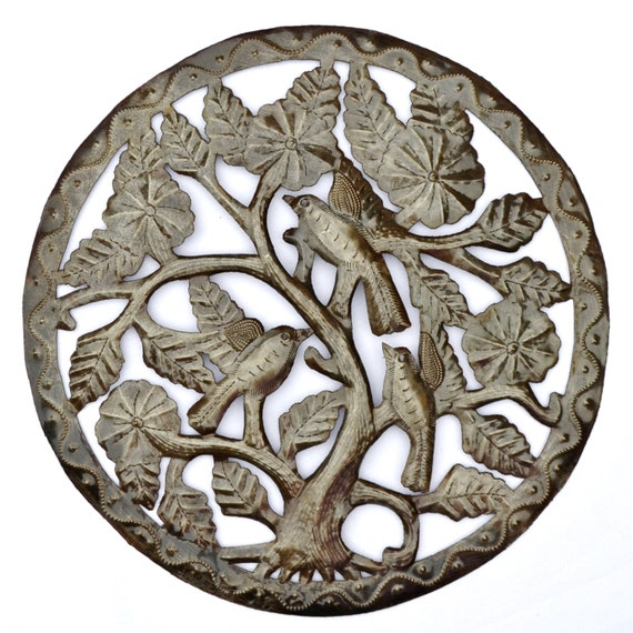 "Tree of Life , Garden Art, Haitian Metal Wall Decor from Recycled Steel Barrel 15"" x 15"""
