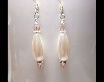 Pale Blush Pink Pearl Crystal Teardrop Wedding Prom Bridal Earrings