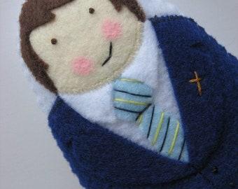 Boy First Communion with standard tie Felt Softie U Pick Colors