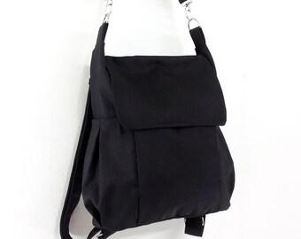 Canvas Bag Cotton bag diaper bag Shoulder bag Hobo bag Tote bag Messenger bag Purse Backpack Everyday bag  Black  Susie