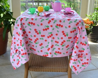 Toddler girl's tablecloth and napkins, birthday gift, toddler play set, play table linens, gift idea, cherries tablecloth, pink play linens.