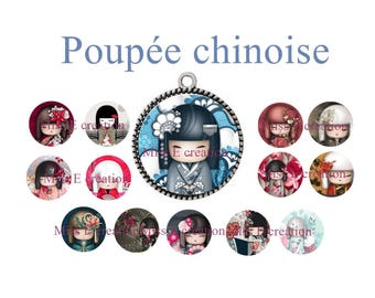 Chinese doll print of digital images for cabochon 25mm and 20mm and 18mm