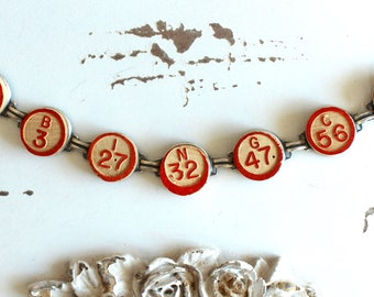 Bingo Bracelet Vintage wooden calling numbers game parts pieces toys teacher gift jewelry retro recycled up cycled assemblage steampunk