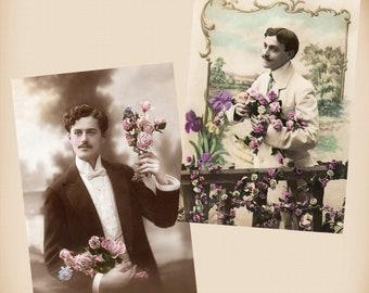 Man With Flowers 2 New 4x6 Vintage Postcard Image Photo Prints GE01 GE10
