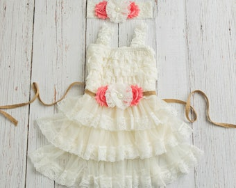 Lace Burlap Rustic Flower Girl Dress, Country Flower Girl Dress, Ivory lace flower girl dress, baby flower girl dress, flower girl dresses