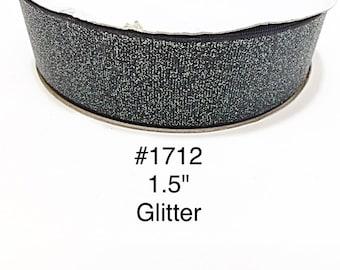 "3 or 5 yard - 1.5"" Glitter Solid Black Grosgrain Ribbon Hair bow Craft Supply"