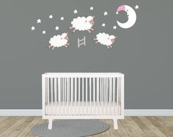 Sheep Jumping over Moon Wall Decals, Nursery Wall Decals, Wall Decals Nursery, Baby Wall Decal, Kids Wall Decals, Wall Stickers, Decals,
