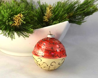 Vintage Shiny Brite Germany Ball Christmas Ornament, Hand Painted German Glass Ball Ornament