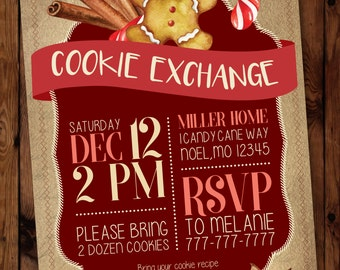 Christmas Cookie Exchange Invitation, Holiday Cookie Exchange Invitations, Cookie Swap Invitation, Oh Snap, Gingerbread Invites, #005