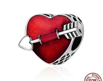 First Love Engrave Arrow Heart Charm