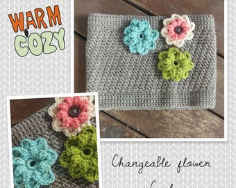 Changeable flower cowl-fall cowl-women's cowl-teen cowl-child's cowl-fall accessory-crochet cowl-winter accessory-gift for her