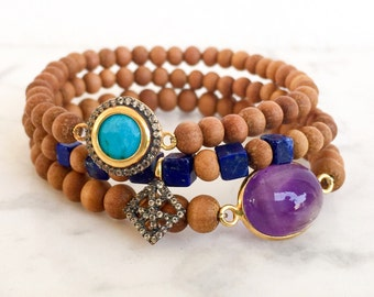 Boho luxe sandalwood bracelet, pave white topaz bracelet, turquoise sandalwood bracelet,boho chic amethyst bracelet, lapis lazuli bracelet