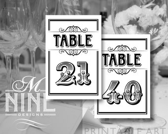 Black and White Printable TABLE NUMBERS 21-40 Vintage Party Download Table Number Signs, Party Decor, Vintage Wedding Décor BW39