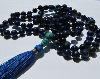 Lapis lazuli mala - Hand knotted 8mm Lapis 108 beads buddhist mala