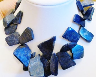 Custom Order Triple Strand Chunky Large Blue Lapis Statement Necklace