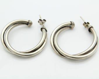 Vintage Artisan Custom-Made Twisted Half Hoop Earrings in Sterling Silver. [11377]