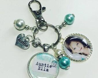 Auntie personalised keyring, Auntie personalised keychain, Auntie photo keyring, Auntie photo gift