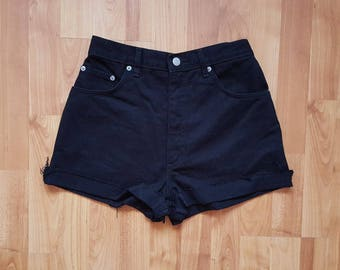 Womens DENIM Black Shorts Short Jeans Denim Shorts Black High Waisted Shorts Denim Daisy Dukes Size 29 Nr. 43