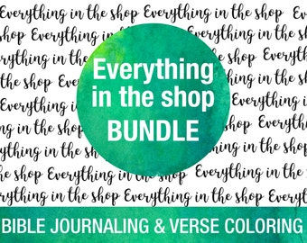 Everything in the shop bundle - printable Bible journaling tempaltes, Bible verse coloring pages, stickers, cards