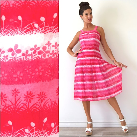 Vintage 50s 60s How Does Your Garden Grow Pink and White Floral Striped Chiffon Sun Dress with Fitted Bodice and Box Pleat Skirt (xs, s)