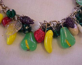 FRUIT SALAD CHARM Bracelet--Glass Pears, Glass Bananas, Glass Lemons, a glass Strawberry, Leaves, Acrylic Grape Clusters & More-Summer FuN!