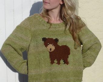Bear Sweater, knitting pattern, small adult/teens chunky knitting pattern.