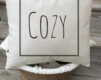 Cozy Pillow Cover  Farmhouse Decor  Farmhouse Pillow  Word Art Pillow