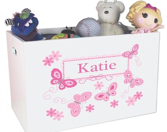 Personalized Open Toy Box with Pink Butterflies Design YBIN-300a
