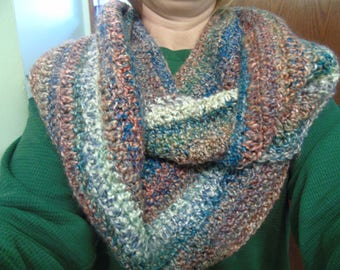 Infinity Scarf, Crocheted Scarf, Multi-Color Scarf