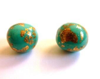 Mint Green Earrings Mint Green Stud Earrings Mint Green Post Earrings Mint Green Ball Stud Earrings Polymer Clay Earrings