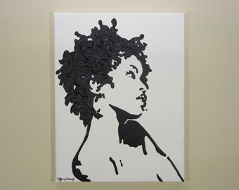 Lauryn Hill painting (11x14) Pop Art, Black and White, Lauryn Hill art