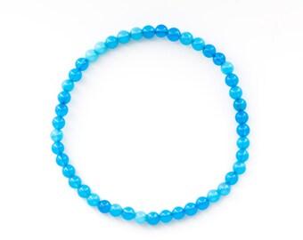 Agate Light blue Gemstone ball Bracelet 4 mm Flexible