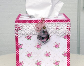 Tissue Box Kleenix Box Cover Handmade Cottage Chic
