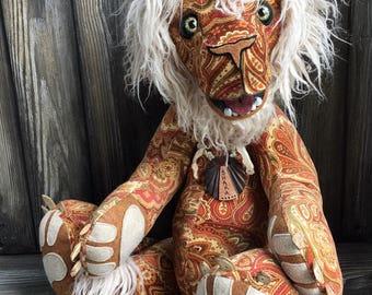 "Shaka beach bum lion artist teddy bear 24"" paisley fabric yak fur by Karen Knapp of Tindle Bears"