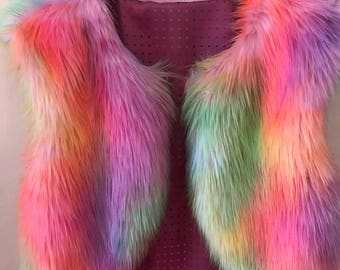 Girls unicorn Faux fur vest babies rainbow unicorn newborn baby girl kidsfaux fur wrap baby fur vest Shrug Cover Up Stole Wrap Shawl Fur Lux