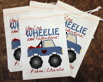 Valentine School Party Gift - Boys Valentine Card Replacement / Monster Truck Candy Bag for Boys / Teachers Gift Bag / Kids Classroom Party