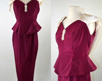 1980s Burgundy Peplum Waist, Sash Back Collar Dress, Formal Event