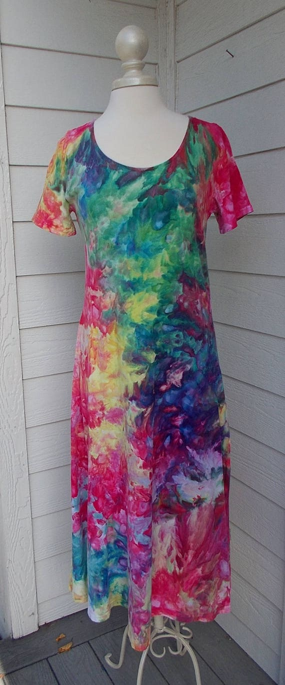 Ice dye tie dye Dress  Large short sleeve  Multicolor