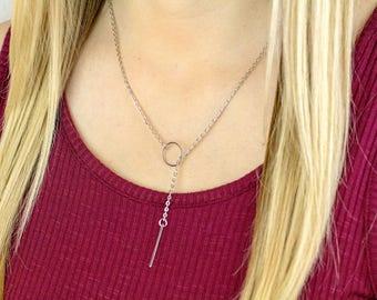 Silver Lariat Necklace, Silver Y Necklace, Lariat Necklace, Y Necklace Silver, Silver Lariat, Bar Drop Necklace, Minimal Y Necklace