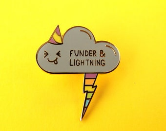 Cloud Pin, Funder and Lightning Pin, Thunder and Lightning, Rainbow, Party hat, Pun, Fun, Silly, Storm, Weather, Enamel Pin, Pin badge, Grey
